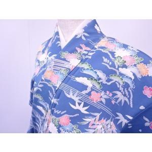 此方の商品は「リサイクル 小紋 霞に槌車・小舟・四季草花文様 着物」でございます。  広衿仕立てでご...