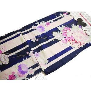 毎年、当店でも大変人気のあるおび工房謹製のお仕立て上がりの高級浴衣です。  生成り地と紺の縞に 四季...