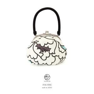 成人式におすすめなレトロモダンながま口バッグ   ■色 白系に水色やピンク  ■素材 表面 ポリエス...