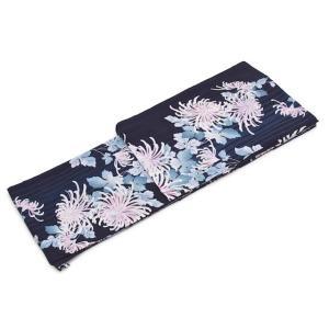 [浴衣/ゆかた/仕立て上がり]  紺色の涼やかさに乱菊がしっとりと演出   ■サイズ (フリーサイズ...
