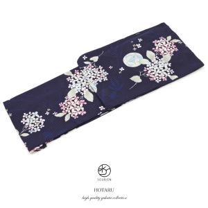 レディース浴衣bonheursaisonsボヌールセゾン紺ネイビー白紫紫陽花あじさい鞠綿縞紅梅ラメ女性用仕立て上がりフリーサイズ