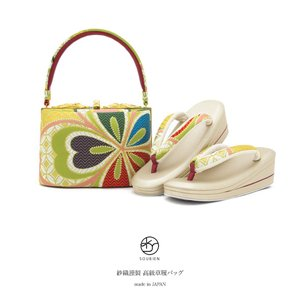 名門『紗織』謹製の高級草履バッグセット   ■色 バッグ 黄緑にピンクや金色など 草履 金色に黄緑や...
