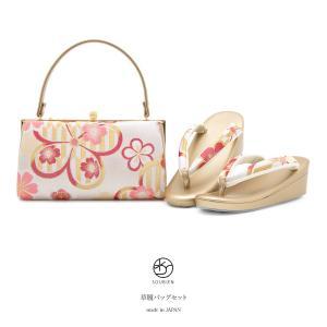 成人式の振袖におすすめな草履バッグセット   ■色 バッグ 白地に金色やピンクなど 草履 金色に白や...