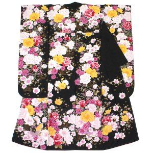 成人式におすすめな華やかな振袖着物   ■色 黒地にカラフル  ■素材 ポリエステル100%    ...