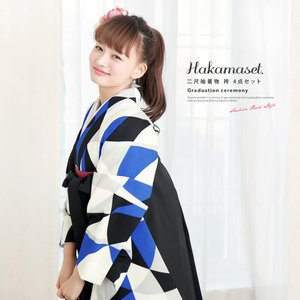 卒業式におすすめなレディース袴セット   ■色 着物 青に黒や白など 袴 黒  ■素材 着物 ポリエ...