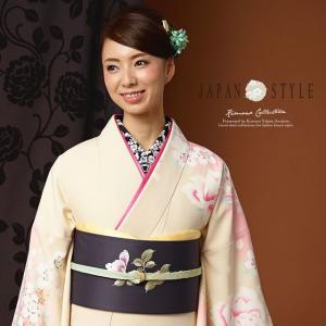 訪問着 薄黄色 クリーム色 薔薇 桜 花 ブランド JAPAN STYLE ジャパンスタイル 袷着物 フォーマル 仕立て上がり 送料無料|soubien