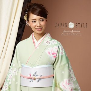訪問着 薄緑色 ライトグリーン 薔薇 桜 花 ブランド JAPAN STYLE ジャパンスタイル 袷着物 フォーマル 仕立て上がり 送料無料|soubien