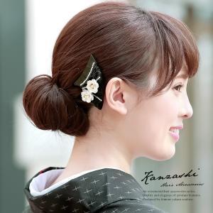 バチ型簪 かんざし 訪問着用 色留袖用 小紋用 黒 白 べっ甲色 花 フラワー 透かし彫り ラインストーン 髪飾り