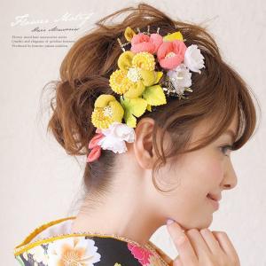 髪飾り 2点セット 黄色 ピンク 椿 縮緬 つまみ細工 コー...