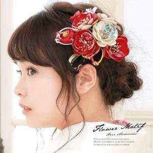 髪飾り 2点セット 赤 椿 桜 花 つまみ細工 縮緬 水引 ...