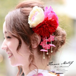 髪飾り 浴衣髪飾り 成人式振袖髪飾り 卒業式袴髪飾り 花 フラワー 赤 和装