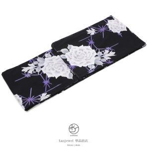 浴衣 レディース 単品 Luxjewel ラグジュエル 黒系 ブラック 薔薇 バラ 麻の葉 花柄 変わり織り 女性用