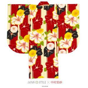 袴用着物 二尺袖着物 単品 ブランド JAPAN STYLE×中村里砂(ジャパンスタイル) 赤 レッド 椿 菊 花 縞 重衿付 小紋柄 小振袖 卒業式 女性 日本製 送料無料|soubien