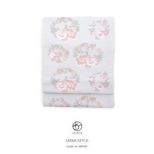 袋帯 ブランド JAPAN STYLE ジャパンスタイル 白 オフホワイト ピンク 桜 牡丹 菊 花輪 訪問着用 フォーマル 日本製 仕立て上がり 送料無料|soubien
