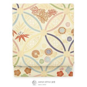 袋帯 ブランド JAPAN STYLE ジャパンスタイル 白茶系 クリームベージュ 七宝繋ぎ 花唐草 梅 菊 六通柄 フォーマル 仕立て上がり 日本製 送料無料|soubien