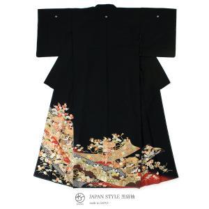 黒留袖 ブランド JAPAN STYLE(ジャパンスタイル) 黒 赤 金色 吉祥紋 貝箱 松 藤 亀甲 花々 フォーマル 礼装 正装 仕立て上がり 送料無料|soubien