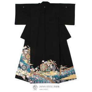 黒留袖 ブランド JAPAN STYLE(ジャパンスタイル) 黒 青 金色 吉祥紋 尾長鶏 稜花 菊菱 フォーマル 礼装 正装 仕立て上がり 送料無料|soubien