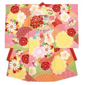 初着 ブランド JAPAN STYLE 赤 レッド ピンク 黄色 吉祥文 牡丹 桜 梅 菊 花 ラメ 産着 お宮参り 祝着 ジャパンスタイル 絵羽着物 お祝い 女の子 女児 送料無料|soubien