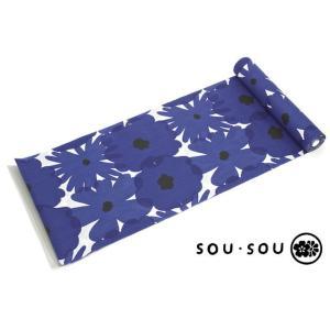 浴衣 レディース 反物 ブランド SOUSOU 青 白 花 ポップ 未仕立て|soubien
