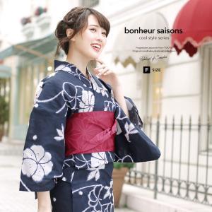 浴衣 レディース 3点セット (浴衣/半幅帯/下駄) bonheur saisons ボヌールセゾン...