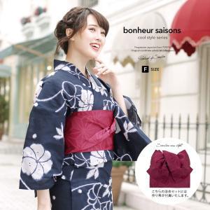 浴衣 レディース 3点セット (浴衣/作り帯/下駄) bonheur saisons ボヌールセゾン...