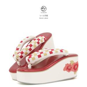草履 白 ホワイト 赤 レッド 市松 椿 花 刺繍 ヒール草...