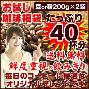コーヒー豆 オリジナルブレンド 珈琲 選べる 豆 中挽き 粉  40杯分 お試し 福袋 400g ポ...