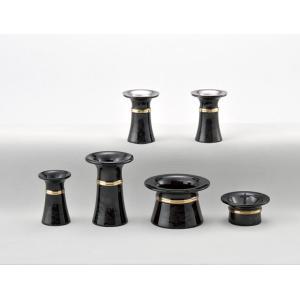 モダン仏具 きずな 6具足 (ブラック)〜インテリア性の高いモダン仏壇に良く似合う、現代風の仏具セットです〜送料無料|soujuen