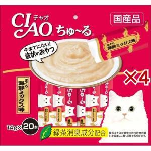 いなば チャオ ちゅ〜る まぐろ 海鮮ミックス味 ( 20本入*4コセット )/ チャオシリーズ(CIAO)|soukai