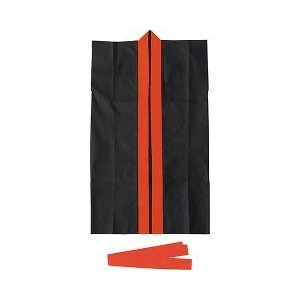 カラー不織布ロングハッピ ハチマキ付 黒 襟赤 ...の商品画像
