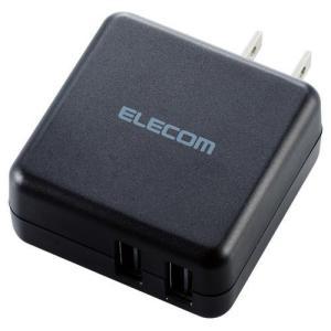 スマートフォン・タブレット用AC充電器 3.6A出力 USB-Aメス2ポート ブラック ( 1個 )/ エレコム(ELECOM)|soukai