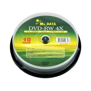 MR.DATA DVD-RW データ用 繰り返し記録 4.7GB スピンドルケース入り DVD-RW47 4X 10PS ( 10枚入 )