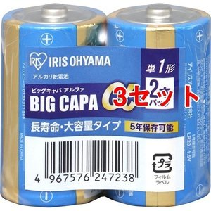 アイリスオーヤマ 単1アルカリ乾電池 2本シュリンク LR20IB/2S ( 1パック*3コセット )/ アイリスオーヤマ|soukai