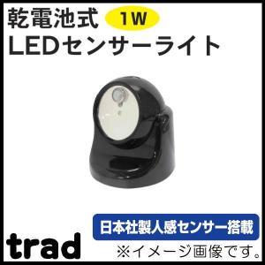 乾電池式LEDセンサーライト(1W) ブラック TSL-1B trad|soukoukan