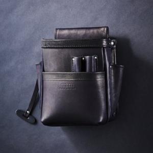 ニックス 総グローブ革2段腰袋 デポー ブラック KNICKS 正規激安 KB-201DDSP