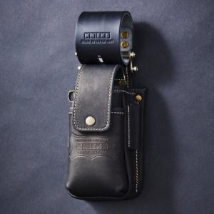 ニックス 蓋付き総ヌメ革チェーンタイプ小物腰袋(ブラック) KBS-201DSDXF KNICKS KBS201DSDXF|soukoukan