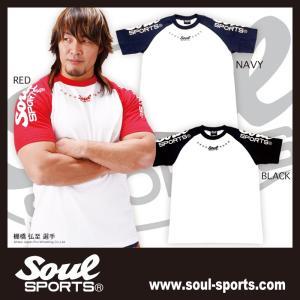 SOUL SPORTSオリジナル ラグラン袖ロゴ 半袖Tシャツ レッド/ブラック/ネイビー soul-sports