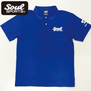 SOUL SPORTSオリジナル SOULロゴ ドライポロシャツ ブルー soul-sports