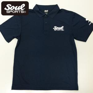 SOUL SPORTSオリジナル SOULロゴ ドライポロシャツ ネイビー soul-sports
