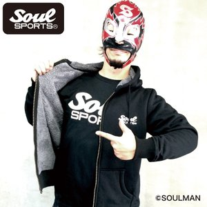 【SOUL SPORTS オリジナル】裏ボア 起毛 暖かい ジップパーカー ブラック|soul-sports