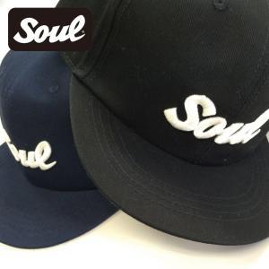 SOUL ロゴ刺繍キャップ 黒/紺|soul-sports