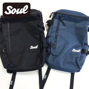 SOUL 刺繍ロゴバックパックB 黒/紺|soul-sports