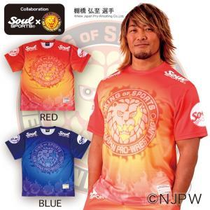 新日本プロレス×SOUL SPORTSコラボ グラデーション総柄転写プリントTシャツ 2017新作|soul-sports