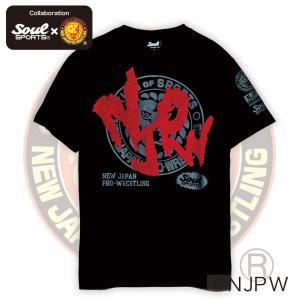 新日本プロレス×SOUL SPORTSコラボ NJPWデカロゴ半袖Tシャツ ブラック 2018新作|soul-sports|05