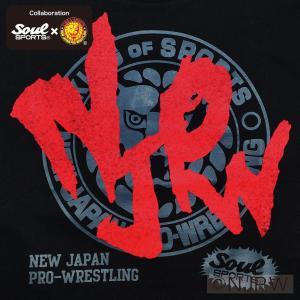 新日本プロレス×SOUL SPORTSコラボ NJPWデカロゴ半袖Tシャツ ブラック 2018新作|soul-sports|06