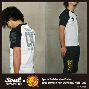 新日本プロレス×SOUL SPORTSコラボ 20th記念ラグラン半袖Tシャツ ブラック×ホワイト 2019新作|soul-sports|07