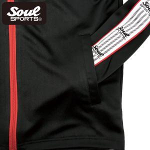 SOUL SPORTSオリジナル 袖テープ付きジャージ上下セット 2018新作 ブラック/ネイビー|soul-sports|14