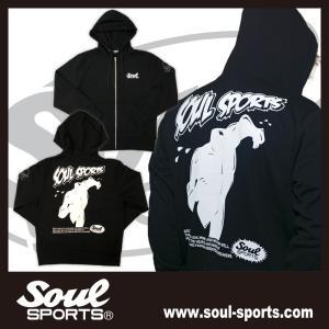 SOUL SPORTSオリジナル アメコミ風ダッシュマンロゴジップパーカ ブラック 2018新作|soul-sports