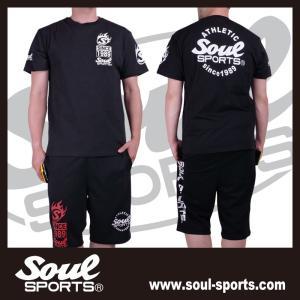 SOUL SPORTSオリジナル Sファイヤー3連ロゴ 半袖Tシャツ ブラック/ホワイト 2019新作|soul-sports|19