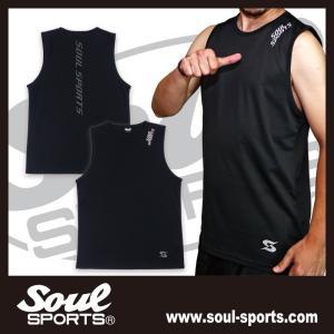 SOUL SPORTSオリジナル 「S」マーク反射ロゴ ドライノースリーブ ブラック 2019新作 soul-sports